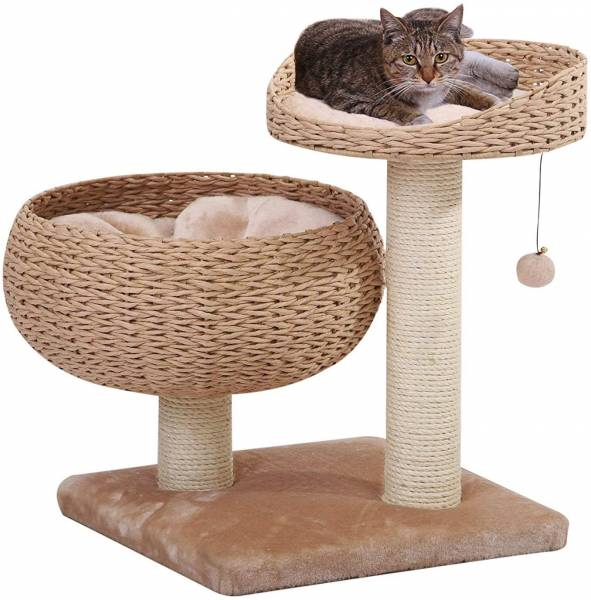 PetPals Hand Made Paper Rope Natural Bowl Shaped with Perch Cat Tree