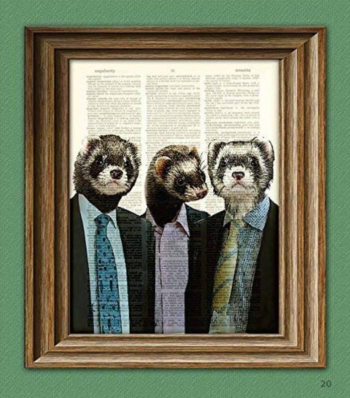 Ferret Art Print a Business of Ferrets Illustration Animal Groups