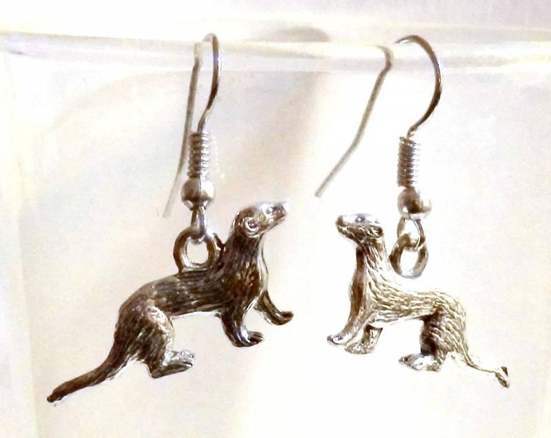 Pewter Ferret Earrings